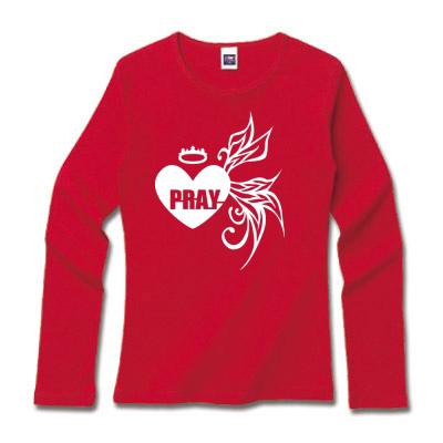 キュートロゴデザインシャツ「PRAY」シンプルホワイト