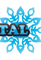 雪の結晶デザイン「WHITE CRYSTAL」青