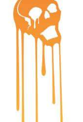 髑髏デザインTシャツ「MELTING SKULL」グラデーションオレンジ