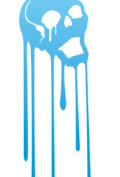 ユニークスカルTシャツ「MELTING SKULL」グラデブルー