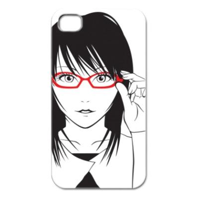 iPhone4キャラカバー シンプルカラー 眼鏡女子