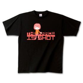 男の子プチキャラクター デザインTシャツ「SHOT」赤