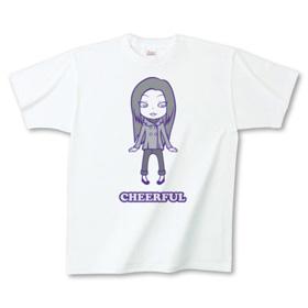 キュートでポップなイラストTシャツ「チアフル」グレー