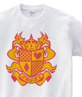 ロゴデザインTシャツ「エンブレム・アモーレ」レッドオレンジ