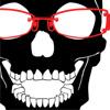 ドクロとメガネのデザインTシャツ「黒DOKURO赤MEGANE」