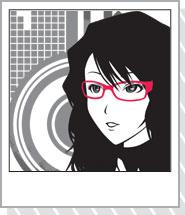 女の子イラストTシャツ「glasses girl」RED