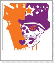 デザインシャツ「POPドクロ」オレンジ・紫