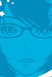 眼鏡女子イラストTシャツ「PRETTY GIRL」blue