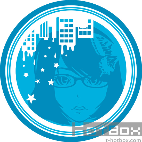 眼鏡女子イラストTシャツ ブルー