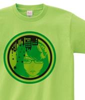 ポップな女の子イラストTシャツ「PRETTY GIRL」green