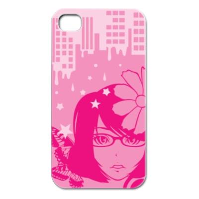 iPhone4 メガネっ子イラストカバー