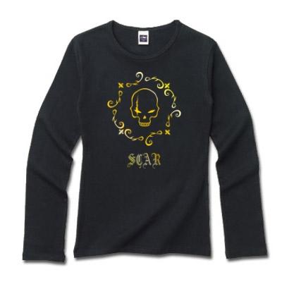 傷ドクロのデザイン ロングTシャツ