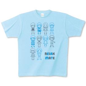 キャライラストTシャツ「RELAXMATE 整列」グレー・ブルー