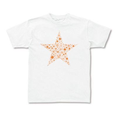 星デザイン Tシャツ オレンジ