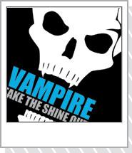 ドクロヴァンパイア Tシャツ 「VAMPIRE」ホワイト・ブルー