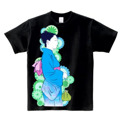 夏浴衣 女の子イラストTシャツ