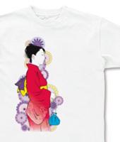 「今宵は浴衣で」デザインTシャツ 赤