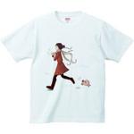 ぶたと女の子のTシャツ